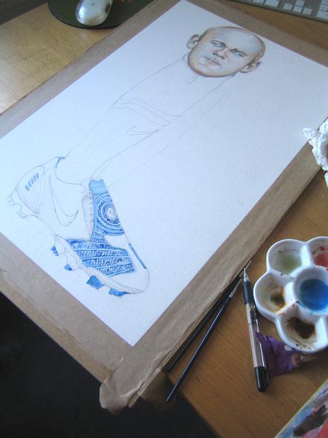 half finished watercolour illustration of Wayne Rooney