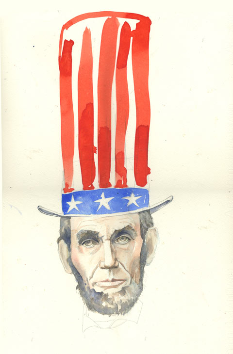Abraham Lincoln watercolour portrait