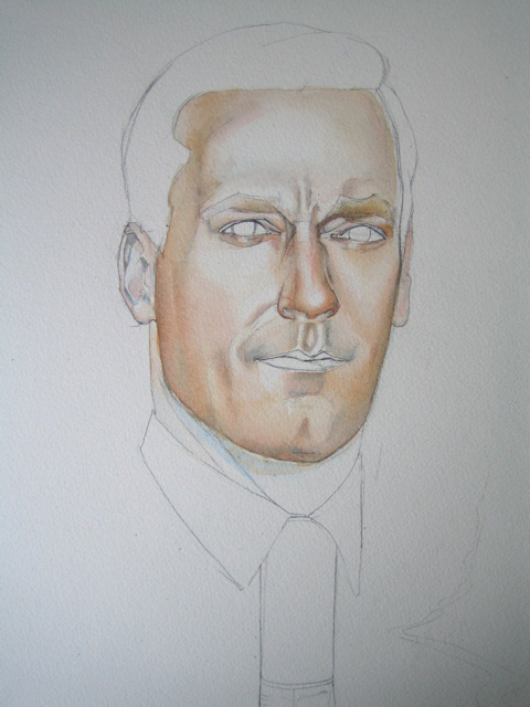 Don Draper watercolour portrait in progress