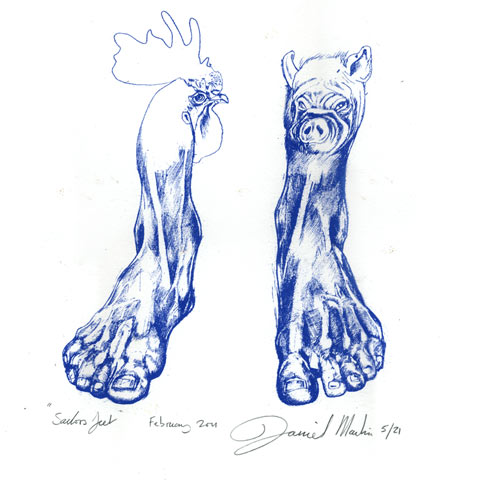 Blue Screen print of sailors feet a pig and a cockerel