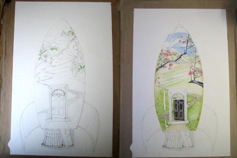 Rocket illustration in progress