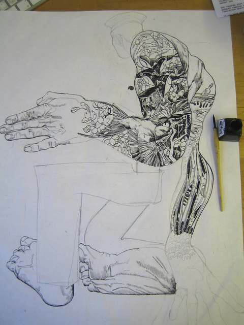 sailor drawing with tatoo's