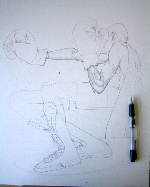 Darwing of a boxer