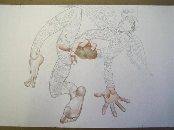 swimmer drawing in progress