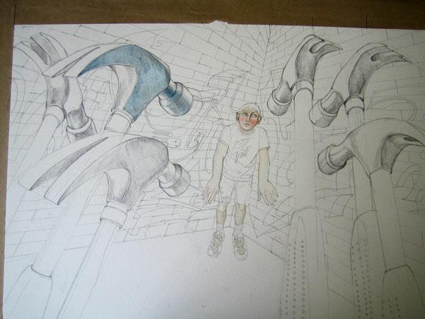 Watercolour in progress, bully illustration