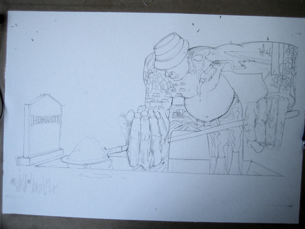 drawing of a grave digger