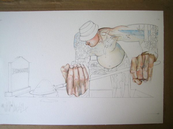 watercolour painting in progress