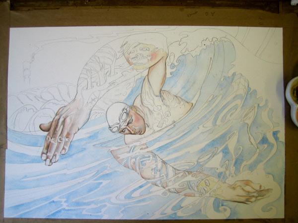 Swimmer watercolour in progress