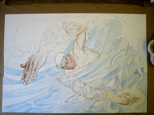 Swimmer watercolour in progress