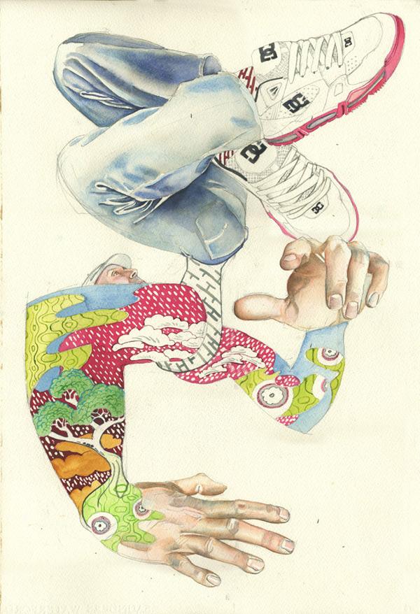 Break dancer, japanese print style
