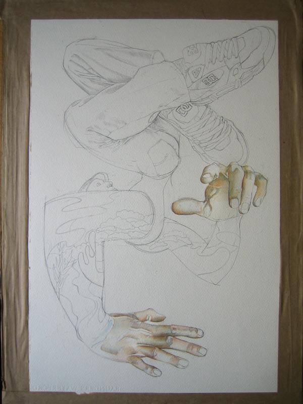Break dancer hands painted