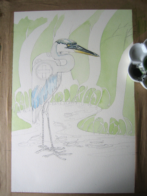 Watercolour painting of a Heron