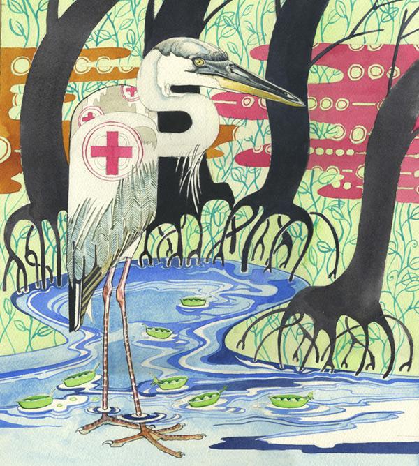 River bank Heron watercolour illustration