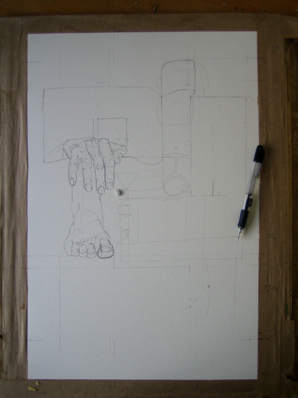 drawing of playboy in progress