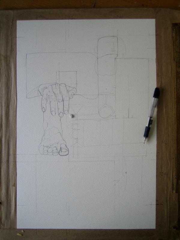 drawing of playboy in progress