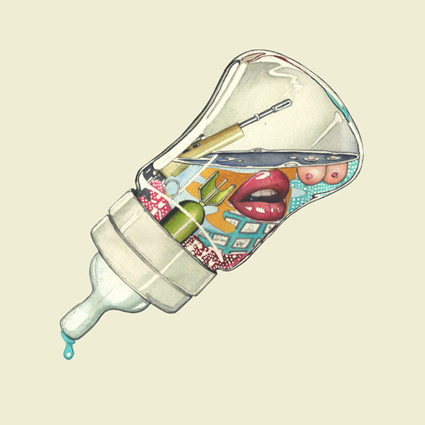 feeding bottle, artwork fro fighting fiction's debut album.