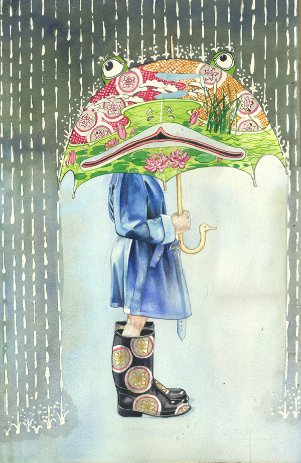 Girl with the frog umbrella, watercolour painting
