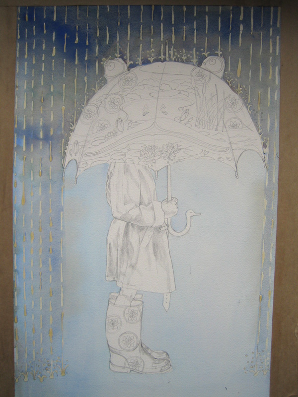watercolour, little girl with umbrella in the rain