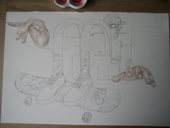 Painting in progress of a skateboarder for Ammo magazine