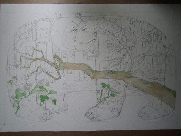 Illustration of a bear in a forest in progress