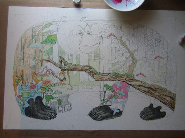 Watercolour ilustration of a bear in teh forest in progress