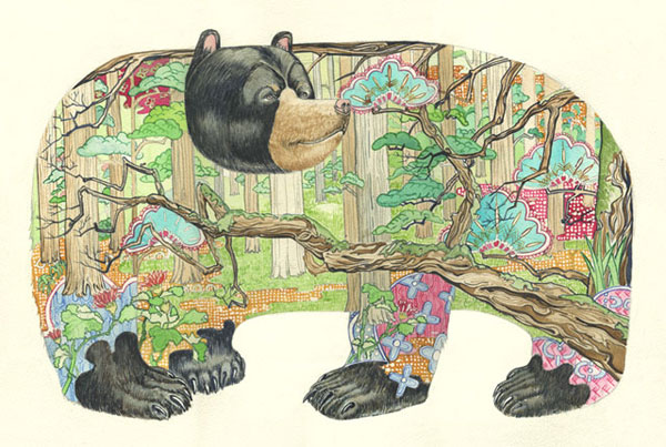Bear in the woods. Animals in their natural habitat