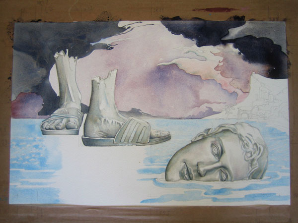 fallens statue of mark Zuckerberg, illustration in progress