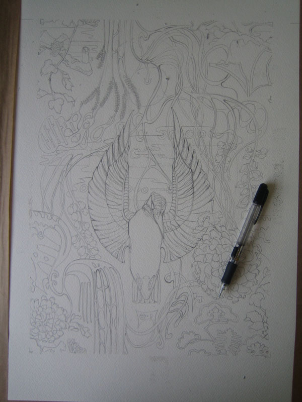 Drawing in progress fro a kingfisher repeat pattern