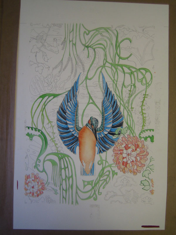 watercolour in progress of a kingfisher  repeat pattern