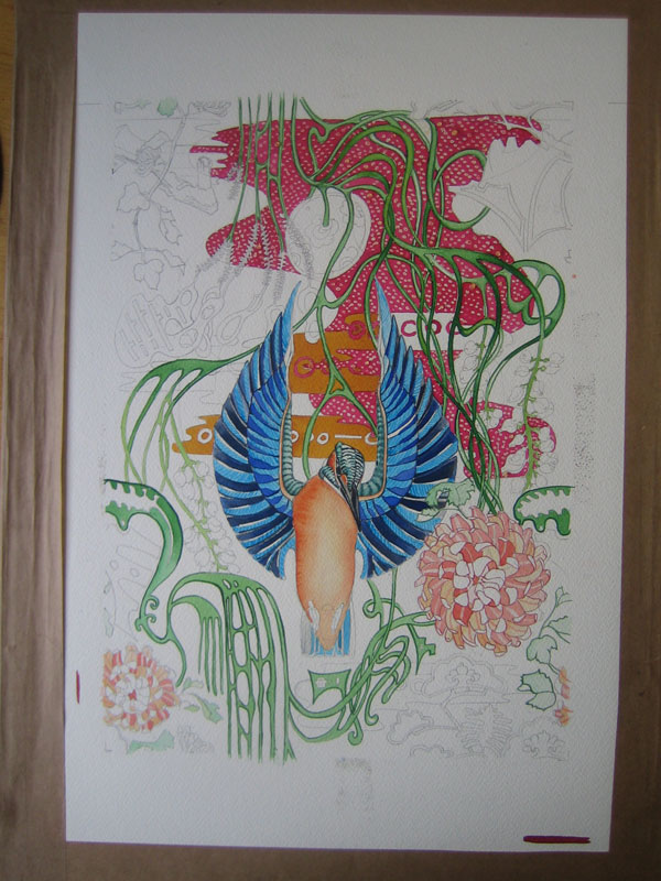 kingfisher watercolour repeat design