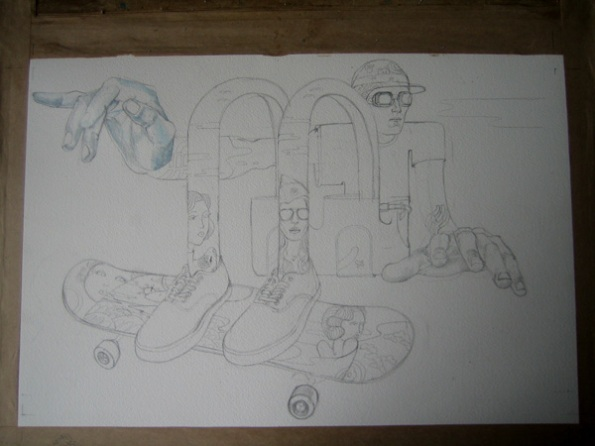 drawing in progress of a skateboarder for Ammo mag
