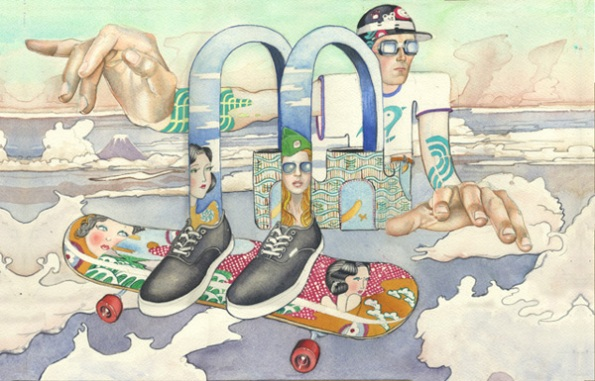 Illustration in watercolour for Ammo Magazine, Skateboarder in the clouds