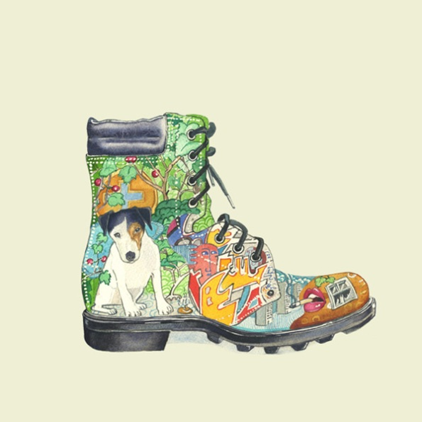 Illustration of a boot with images of urban living on it