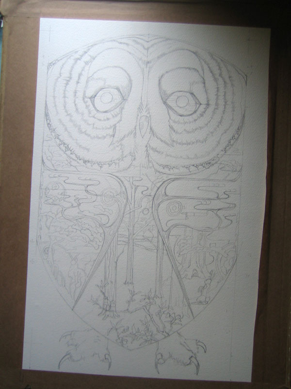 owl drawing in progress