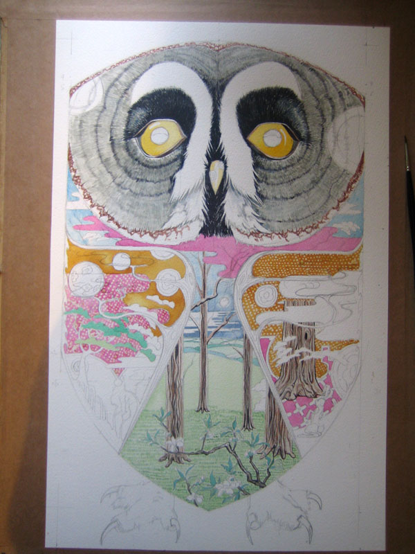 owl watercolour painting in progress
