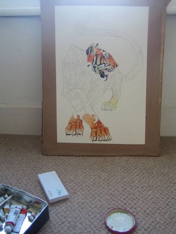 Tiger illustration in progress