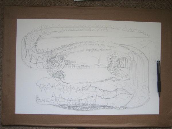 Drawing of a crocodile in progress