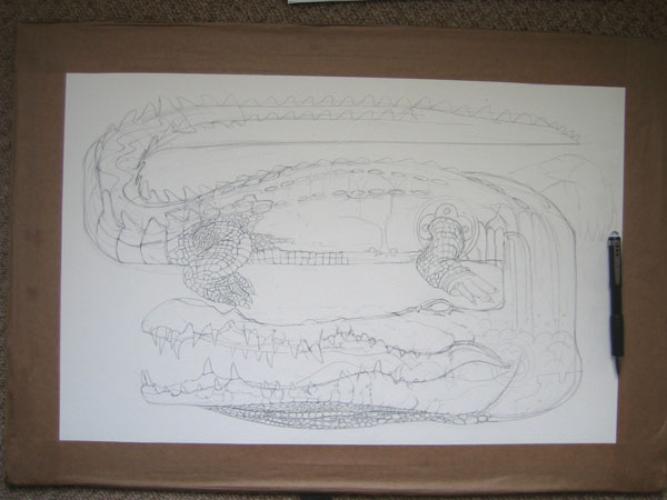 Drawing of a crocodile in progress