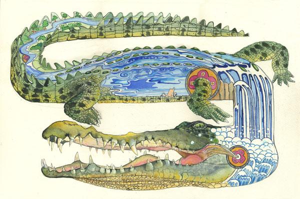 Illustration of a crocodile, River Nile contemporary illustration