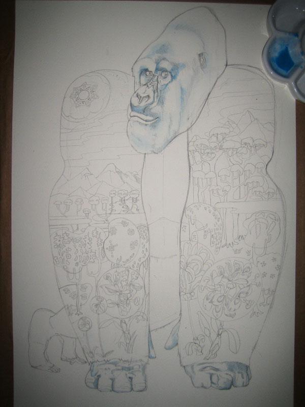 illustration of a gorilla, habitat loss