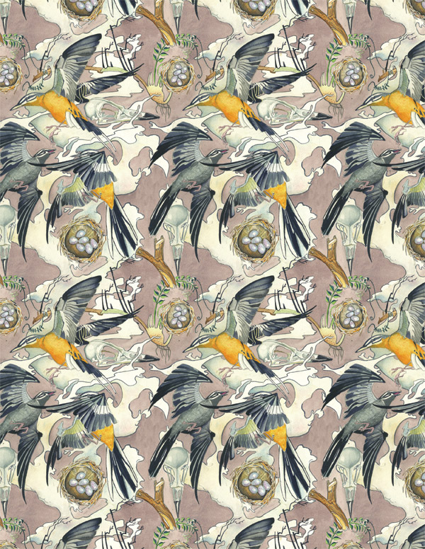 bird( wagtail) repeating pattern