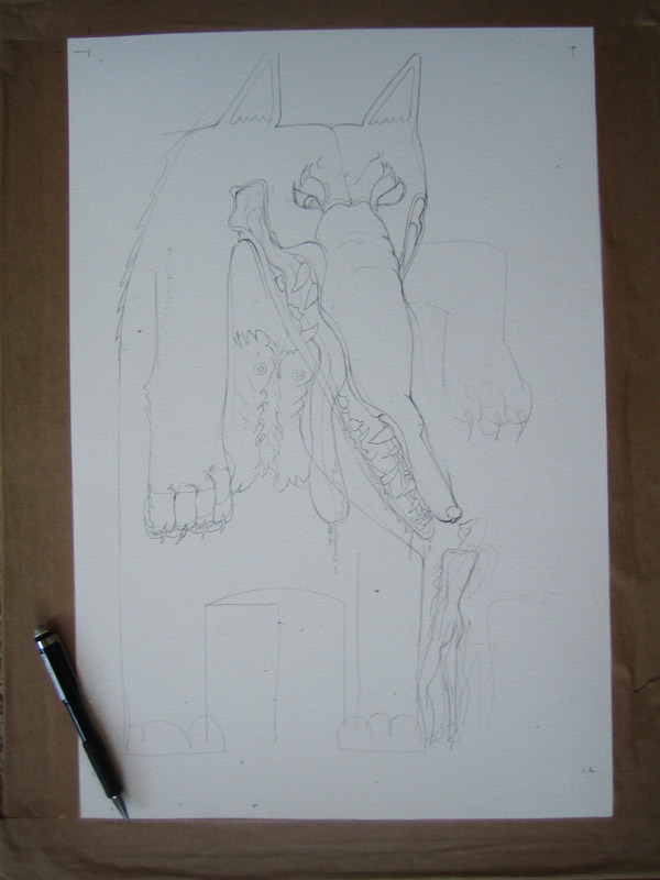 illustration for The company of Wolves in progress