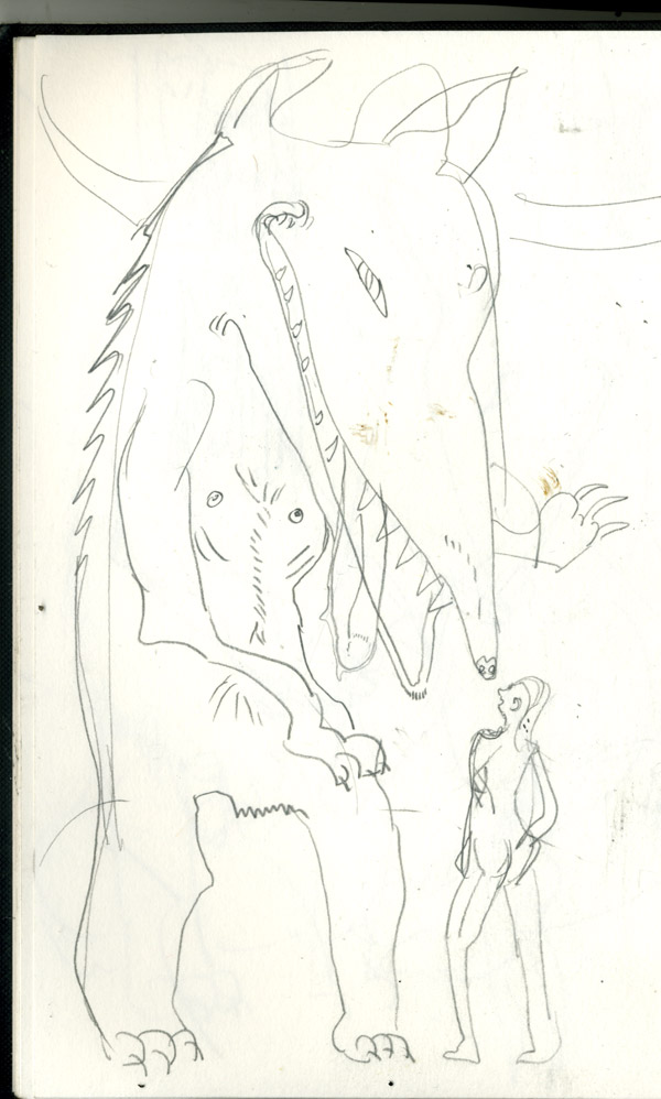 sketch for the company of wolves illustration