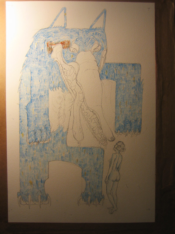 Illustration for The Company of Wovles in progress