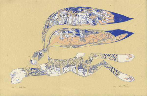 limited edition silkscreen print of a hare
