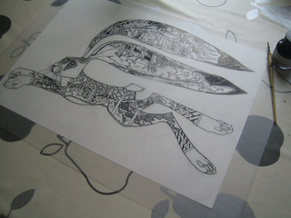 Hare drawn in Indian Ink