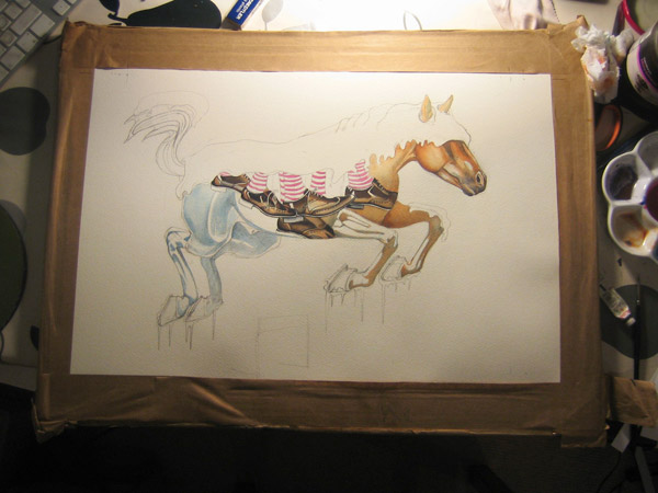 watercolour illustration of horse in progress