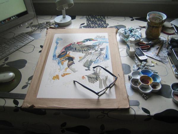 ducks watercolour in progress