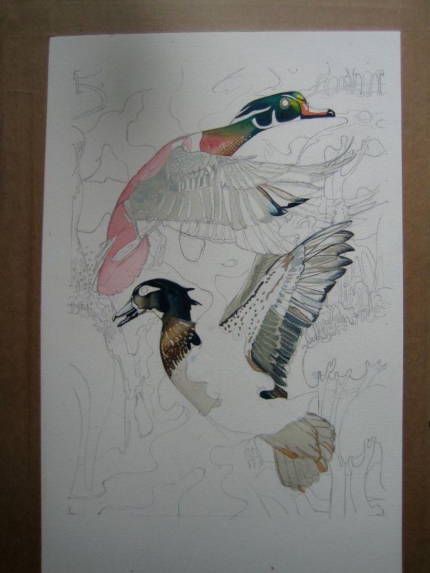 repat patern design in watercolour of ducks in progress