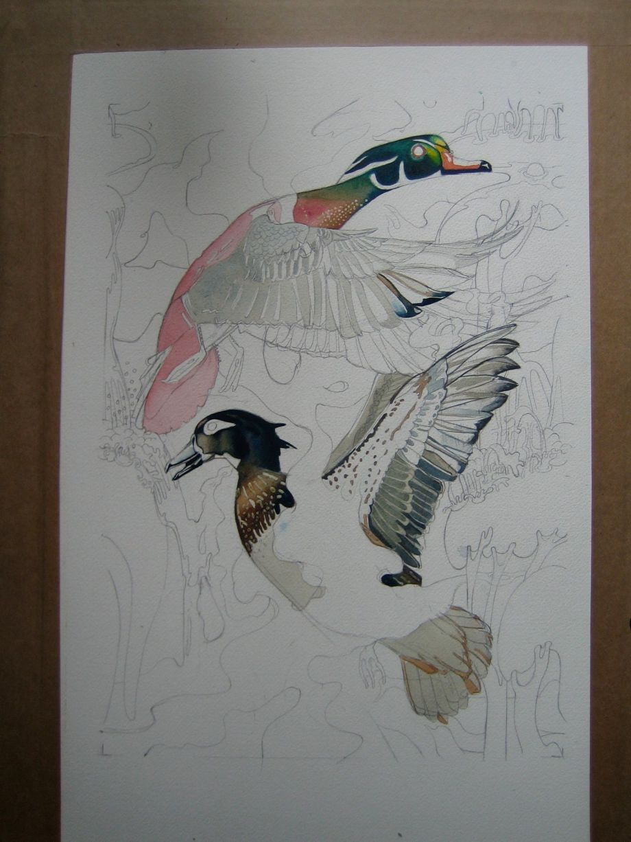 repat patern design in watercolour of ducks in progress